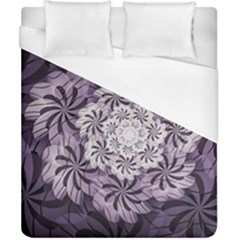 Fractal Floral Striped Lavender Duvet Cover (california King Size)