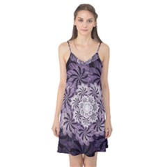 Fractal Floral Striped Lavender Camis Nightgown