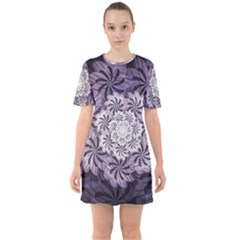 Fractal Floral Striped Lavender Sixties Short Sleeve Mini Dress