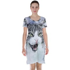 Cat Pet Art Abstract Watercolor Short Sleeve Nightdress