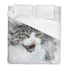 Cat Pet Art Abstract Watercolor Duvet Cover (full/ Double Size) by Celenk