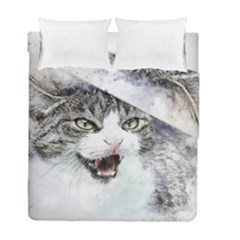 Cat Pet Art Abstract Watercolor Duvet Cover Double Side (full/ Double Size)