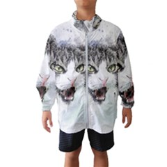 Cat Pet Art Abstract Watercolor Wind Breaker (kids)
