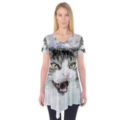 Cat Pet Art Abstract Watercolor Short Sleeve Tunic