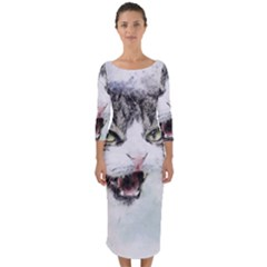 Cat Pet Art Abstract Watercolor Quarter Sleeve Midi Bodycon Dress