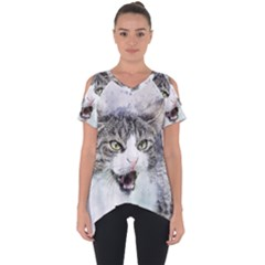 Cat Pet Art Abstract Watercolor Cut Out Side Drop Tee