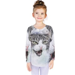 Cat Pet Art Abstract Watercolor Kids  Long Sleeve Tee