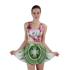 Fractal Mandala Green Purple Mini Skirt