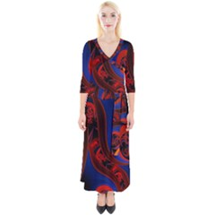 Fractal Abstract Pattern Circles Quarter Sleeve Wrap Maxi Dress by Celenk