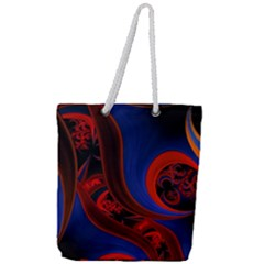 Fractal Abstract Pattern Circles Full Print Rope Handle Tote (large)
