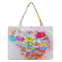 Umbrella Art Abstract Watercolor Zipper Medium Tote Bag by Celenk