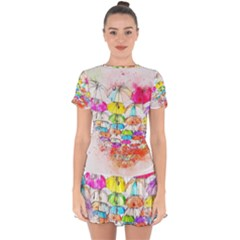 Umbrella Art Abstract Watercolor Drop Hem Mini Chiffon Dress by Celenk