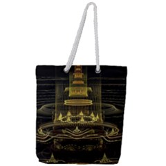 Fractal City Geometry Lights Night Full Print Rope Handle Tote (large) by Celenk