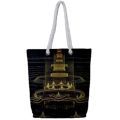 Fractal City Geometry Lights Night Full Print Rope Handle Tote (small) by Celenk