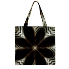 Fractal Silver Waves Texture Zipper Grocery Tote Bag by Celenk