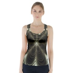 Fractal Silver Waves Texture Racer Back Sports Top