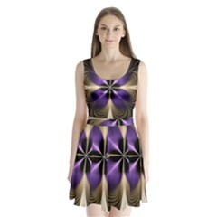 Fractal Glow Flowing Fantasy Split Back Mini Dress  by Celenk