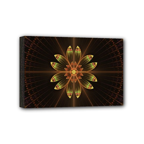 Fractal Floral Mandala Abstract Mini Canvas 6  X 4  by Celenk