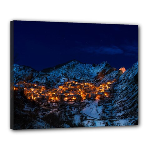 Castelmezzano Italy Village Town Canvas 20  X 16  by Celenk