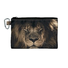 African Lion Mane Close Eyes Canvas Cosmetic Bag (medium)