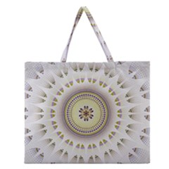 Mandala Fractal Decorative Zipper Large Tote Bag