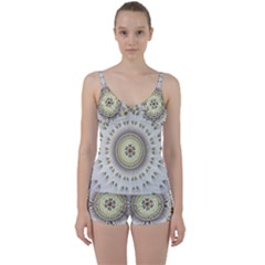 Mandala Fractal Decorative Tie Front Two Piece Tankini
