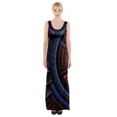 Fractal Circle Pattern Curve Maxi Thigh Split Dress by Celenk