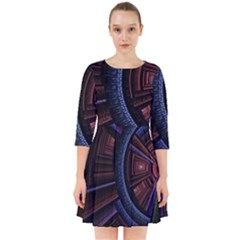 Fractal Circle Pattern Curve Smock Dress by Celenk