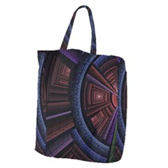 Fractal Circle Pattern Curve Giant Grocery Zipper Tote by Celenk