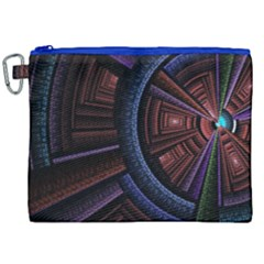 Fractal Circle Pattern Curve Canvas Cosmetic Bag (xxl) by Celenk