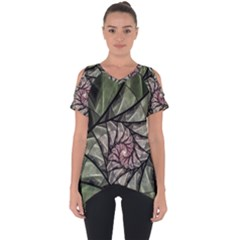 Fractal Flowers Floral Fractal Art Cut Out Side Drop Tee