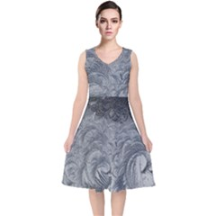 Abstract Art Decoration Design V Neck Midi Sleeveless Dress