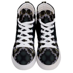 Fractal Aqua Silver Pattern Men s Hi Top Skate Sneakers