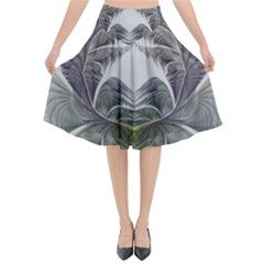 Fractal White Design Pattern Flared Midi Skirt