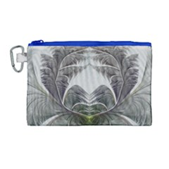 Fractal White Design Pattern Canvas Cosmetic Bag (large) by Celenk