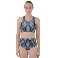 Fractal Blue Lace Texture Pattern Racer Back Bikini Set