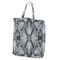 Fractal Blue Lace Texture Pattern Giant Grocery Zipper Tote by Celenk