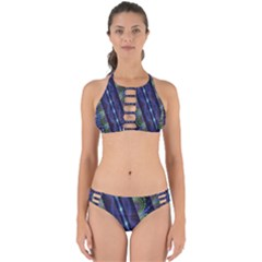 Fractal Blue Lines Colorful Perfectly Cut Out Bikini Set by Celenk