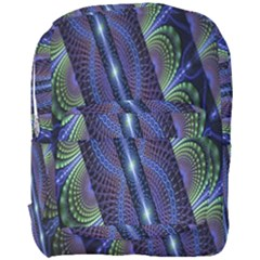 Fractal Blue Lines Colorful Full Print Backpack by Celenk