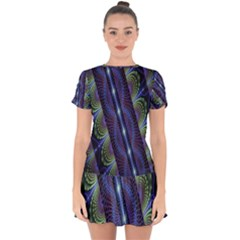 Fractal Blue Lines Colorful Drop Hem Mini Chiffon Dress by Celenk