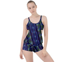 Fractal Blue Lines Colorful Boyleg Tankini Set