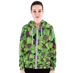 Luck Klee Lucky Clover Vierblattrig Women s Zipper Hoodie by Celenk