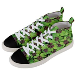 Luck Klee Lucky Clover Vierblattrig Men s Mid Top Canvas Sneakers by Celenk