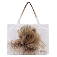 Lion Cub Close Cute Eyes Lookout Zipper Medium Tote Bag by Celenk