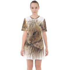 Lion Cub Close Cute Eyes Lookout Sixties Short Sleeve Mini Dress