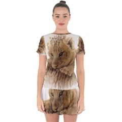 Lion Cub Close Cute Eyes Lookout Drop Hem Mini Chiffon Dress by Celenk