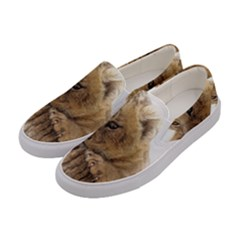 Lion Cub Close Cute Eyes Lookout Women s Canvas Slip Ons by Celenk