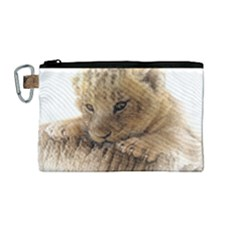 Lion Cub Close Cute Eyes Lookout Canvas Cosmetic Bag (medium)