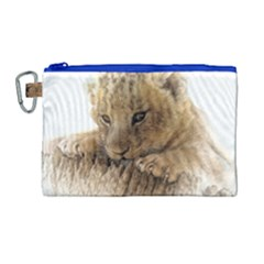 Lion Cub Close Cute Eyes Lookout Canvas Cosmetic Bag (large) by Celenk