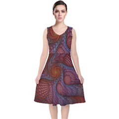 Fractal Red Fractal Art Digital Art V Neck Midi Sleeveless Dress